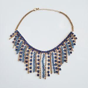 Gold & Blue Fringe Necklace
